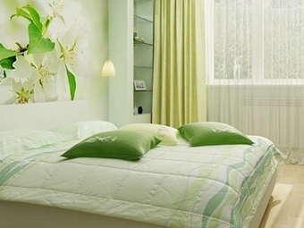 зеленый в спальне