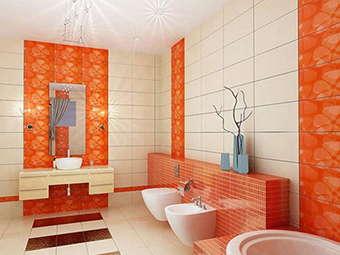 оранжевый цвет в санузле