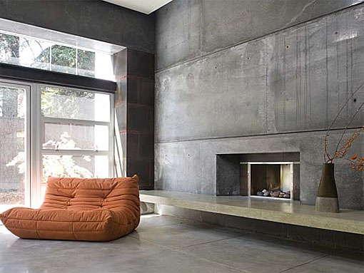 бетон на стене в интерьере